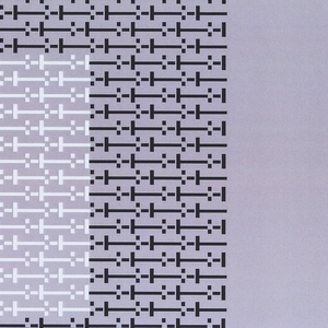 """Large letter """"O"""" (left) and two rectangles (right) printed in black ink. The center of the """"O"""" is printed in white ink. The """"O"""" is comprised of the same series of dots and dashes seen elsewhere in this group. Rectangles are each comprised of different series: --:-- is upper right, -I-I- is lower right. Oriented horizontally."""