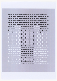 "Rectangle of dots and dashes printed in black and white ink. Black dots and dashes comprise the letter ""T,"" and white dots and dashes form the negative space around the letter. Oriented vertically."