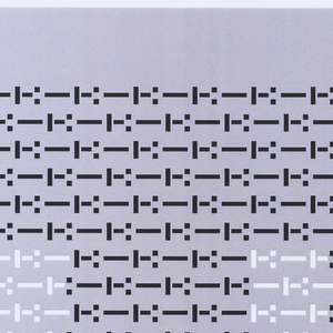 """Rectangle of dots and dashes printed in black and white ink. Black dots and dashes comprise the letter """"T,"""" and white dots and dashes form the negative space around the letter. Oriented vertically."""