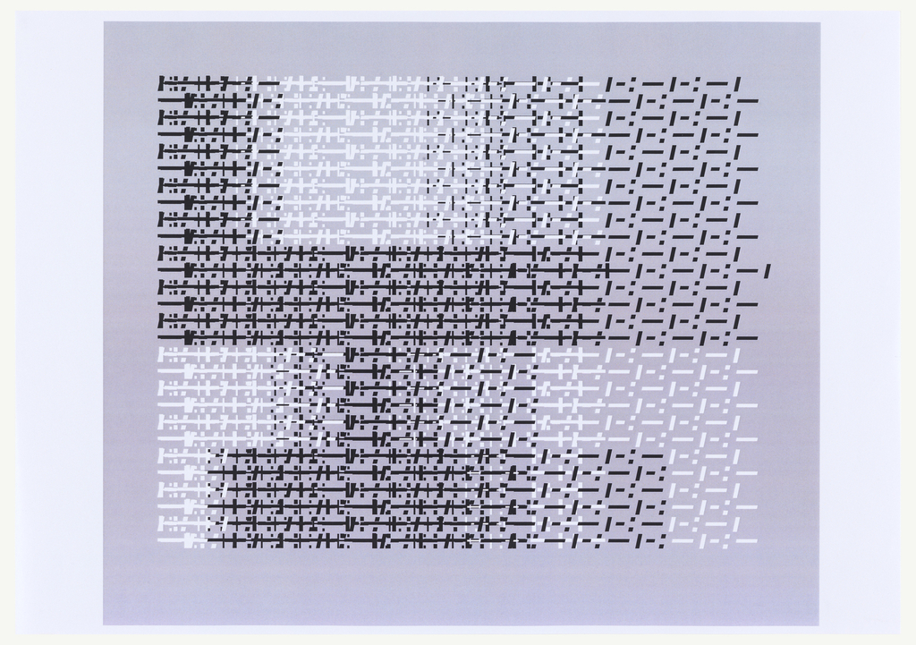 "Large letter ""Y"" oriented horizontally, in black ink on white ground. Overprinted colors fade from left to right, creating an ombre effect.  Comprised from the same series of dots and dashes seen elsewhere in this group, but here italicized."