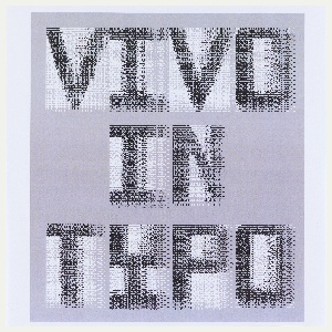 Vivo in Typo in a single iteration, oriented horizontally and centered. Letters in black on rectangular white ground, with dense overlay. Comprised of same series of dots and dashes, but italicized and smaller.