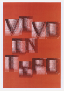 Vivo in Typo in single iteration, oriented vertically. Letters printed in black ink with white ground on red, in dense overlay.