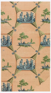 Printed in peach and green, an interesting blend of neoclassical ornament and a small landscape, surrounded by striped cone-shaped framing elements.