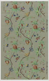 Vining floral design. Exotic flowers and birds. Printed in polychrome on taupe ground.