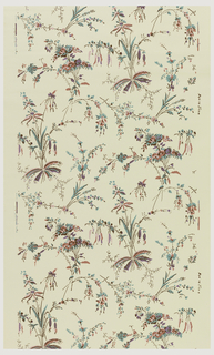 All-over floral pattern, printed in colors on light yellow ground.