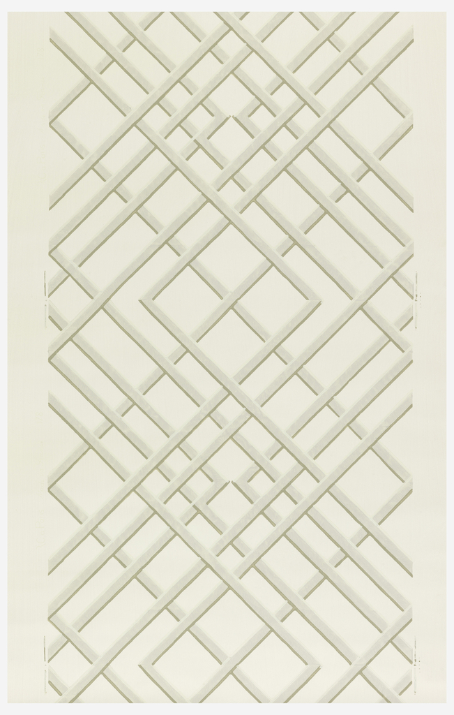 Trellis or treillage design. Printed in grisaille on a white ground.