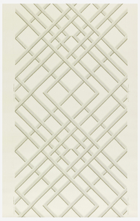 Trellis or treillage design. Printed in grisaille on a white ground.