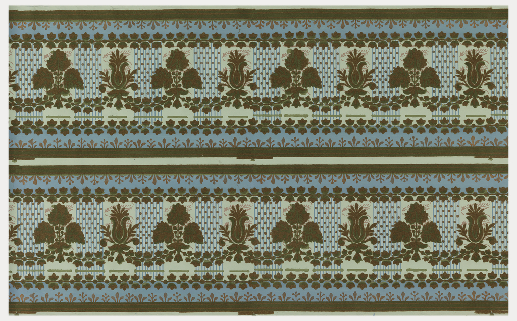 Top and bottom borders to be cut apart. Stylized floral and foliate motifs, connected with ivy swag, with bands of ivy running above and below. Reproduction of a late 18th century design. Printed in red and bronze with green flock on light blue ground.