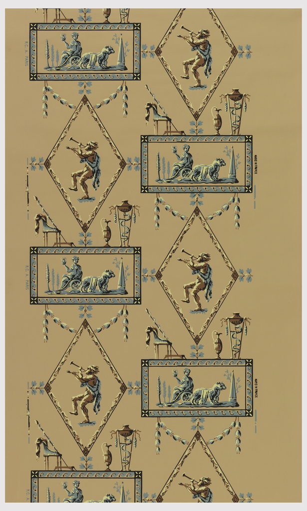 Classical-style wallpaper, with scenes enframed in diamond and rectangular shapes. Printed on yellow ground. Reproduction of a Directoire paper.