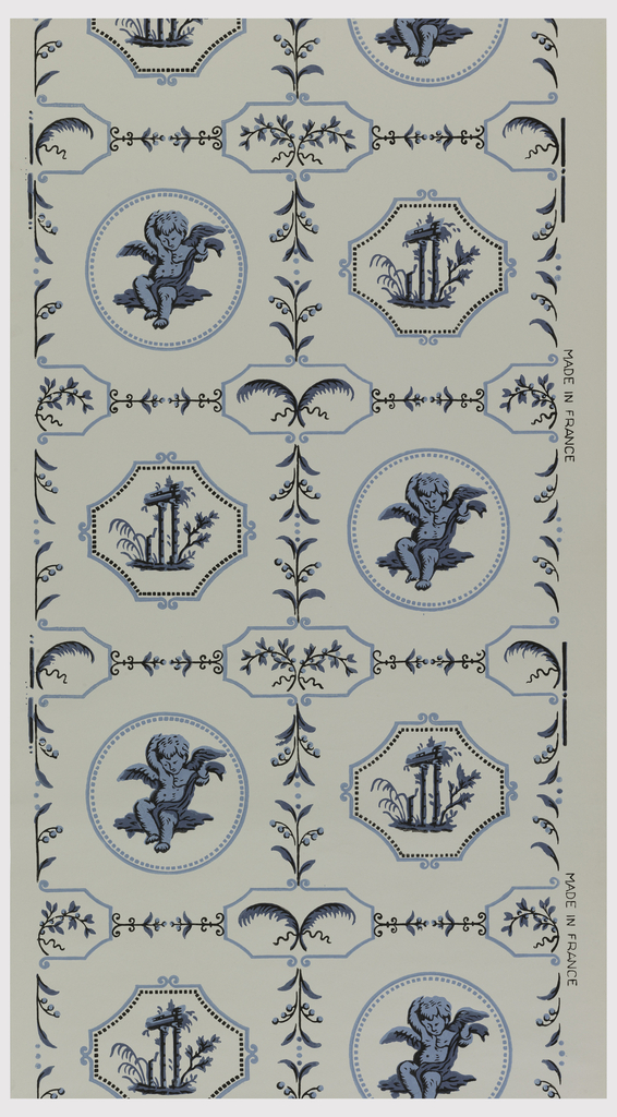 Grid design containing alternating medallions divided by bands of stylized floral and foliate motifs. The one medallion is a winged putti with a blanket enclosed within a beaded circle. The other is a ruin with columns and foliage enclosed within an octagon. Printed in shades of blue and black on a white ground.
