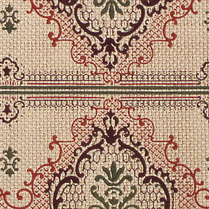 Alternating large and small medallions on a simulated textile weave. Two borders printed across the width.