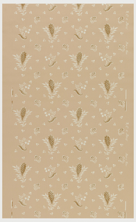 Floral sprig motif, alternating large and small. Printed in yellow ocher and white on a salmon-color ground.