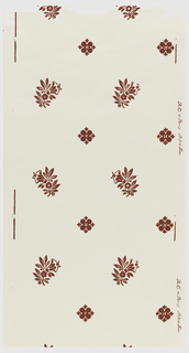 Floral sprigs alternating with floral bosses, printed in red on white ground.