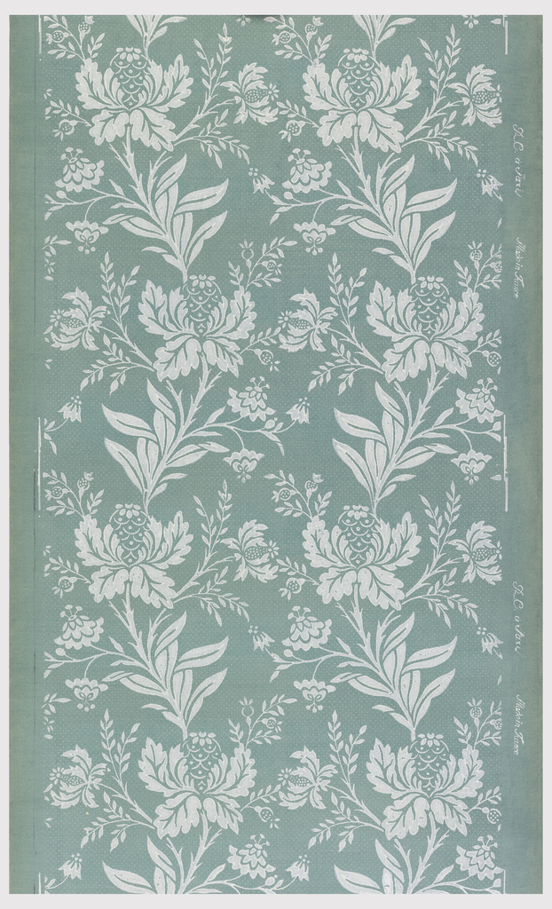 Vining floral pattern, printed in white on deep blue ground.