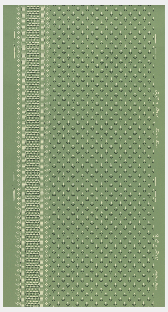 On the left edge is a narrow band of strung beads with a lace-like edge. The rest of the paper is filled with rows of very petite stylized flowers. Printed in green and white on a green ground. This sidewall coordinates with border 1998-75-77.