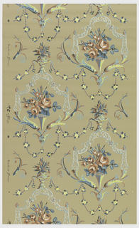 Repeating motif of a floral bouquet in a vase held up by acanthus scrolls. The scrolls are supporting a lace-like arch which creates a framework around the bouquet. Strung beads suspend from the acanthus. Printed in red, green, yellow, white and blue on a taupe ground.