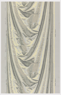 Drapery swag in imitation of silk satin. Printed in grisaille with pale yellow highlights on a gray ground.
