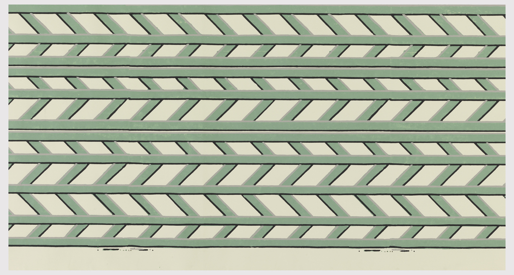 Trellis design in a herringbone pattern. Printed in shades of green on a white ground. This roll has been cut and is only a partial width.