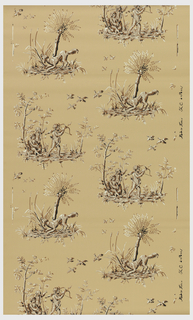 Two alternating landscape vignettes. The first contains three cherubic boys, one with bow and arrow pointed up at birds flying overhead. The other contains a dog ready to retrieve the fowl, with tree and cattails. Reproduction of an 18th century design. Printed in pink, white and black on a light blue ground.