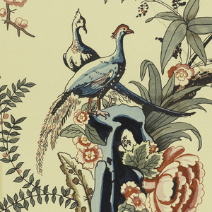 Reproduction of Chinese tree and rocks with birds.  Two pieces.