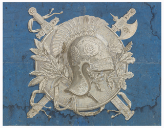 Printed with panoply of armor: shield, helmet, sword and axe; and crossed branches of laurel and oak. Printed in grisaille on deep blue ground. Horizontal rectangle, composed of four joined sheets of paper.
