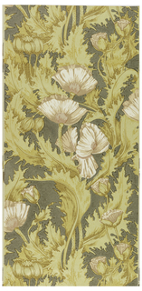 Large-scale repeating design of poppy flowers and leaves. Printed in pink and browns against a gray-green field. Art nouveau style.