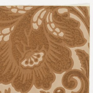 Symmetrical design composed of foliage, drawn on a larger scale. Center motif subjects: an artichoke with branching acanthus leaves on either side. From the top is growing a spray of three small flowers from which spring forth three buds. The design is that of a Queen Anne or early Chippendale damask which this flock paper simulates. Embossed fine horizontal lines on background.