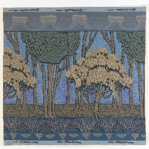 Landscape frieze with large stylized trees, some bearing yellow blossoms, in the middle ground. Band of tan flowers on blue ground across bottom edge.  Conventionalized clouds on gray ground across top edge.