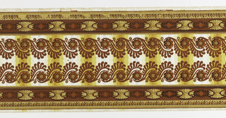 Parallel double frieze running the length of the paper. Above a row of arabesques of foliage and flowers in red flock on a ground of yellow, white and blue wavy stripes is a border of stylized yellow flowers on red flock ground. Pattern ends at one end of the length.