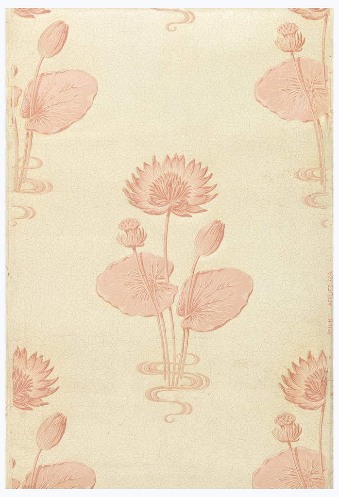 On crackle-patterned background, embossed design of waterlilies, leaves and water ripples; printed in four shades of coral on a cream ground with gray crackle lines, with varnished surface. Bathroom paper.