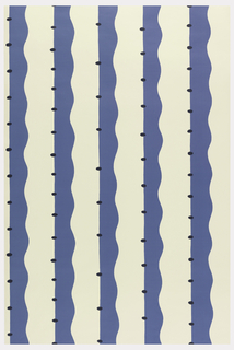 Five deep blue stripes, each wavy on one side, with evenly spaced circular motif on the straight edge, printed on white ground.