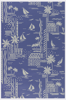 Scenes of boats, houses and palm trees, printed in off-white on medium blue ground.
