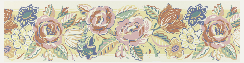 Large roses and tulips, printed in red, pink, white and blue on yellow ground.