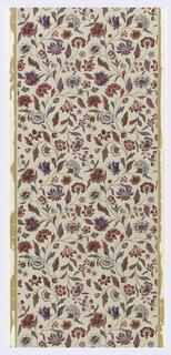 Art Deco rendition of 18th century toile de Jouy floral design. Printed in colors on cream-colored background.