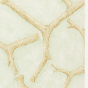 All-over pattern of rustic twigs, turned in various directions. Printed in tan on mottled light green ground.