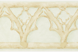 Rustic twig formations, forming trefoil arches and trellis pattern. Continuous twig band along top and bottom edges. Printed in tan on light green mottled ground.