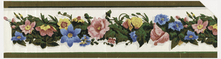 Realistically modelled band of assorted, multi-colored flowers and flocked foliage runs down the center of this border. Stripes of flocking on the edges. Printed in yellow, blue, pink, greens and gray on a white satin ground.  H# 553