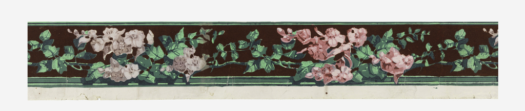 Narrow border, with wide band of vining flowers, alternating between lavender and pink flowers. A green band along bottom edge. There is a burgundy flock background behind the wide top band. Printed in burgundy flock, lavender, pink and green on a white ground.  H# 367