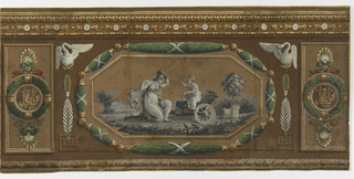 Scenes enframed in octagonal medallion, with white crane or swan over either top corner, a laurel wreath flanks either side of medallion. Running along the top border is a bead-and-reel design, with an egg-and-dart running along the bottom edge. a) Contains female figure with child on rocking horse; b) Two figures with smaller in chariot.