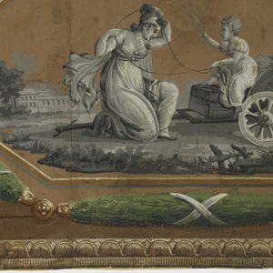Scenes enframed in octagonal medallion, with white crane over either top corner, a laurel wreath flanks either side of medallion. Running along the top border is a bead-and-reel design, with an egg-and-dart running along the bottom edge. a) Contains female figure with child on rocking horse; b) Two figures with smaller in chariot.