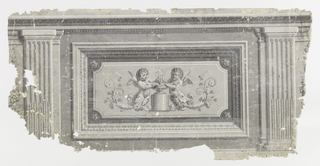 Set between two pilasters, inset panel with two putti on either side of central pedestal with urn. Printed in grisaille.