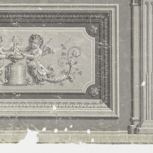 Set between two pilasters, inset panel with two putti on either side of central pedestal with urn. Printed in grisaille.  H# 642