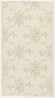 Rococo inspired ceiling paper with large, overlapping cells formed by borders of c-scrolls. Pink flowers and leaves sprout from the cells' blossom-like intersections. Pattern printed in pinks, gold, greens and gray on khaki ground.