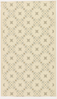 Trellis design ceiling paper with open square cells with alternating decoration of either a single, stylized four-petal blossom in the center or a diamond shape with a small quatrefoil in its center and one quatrefoil in each corner. Pattern is rendered in stencil-like detail, and printed in gold, gray and blue on khaki ground.