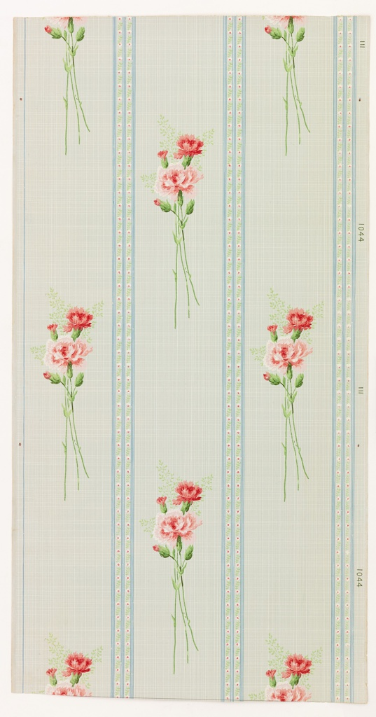 Floral stripe design. Bouquet of three carnations separated by double band of small floral motif. Printed in red, white and green on green striped background.