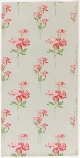 Large-scale bunches of red and white flowers with foliage. Printed on light gray-green ground.