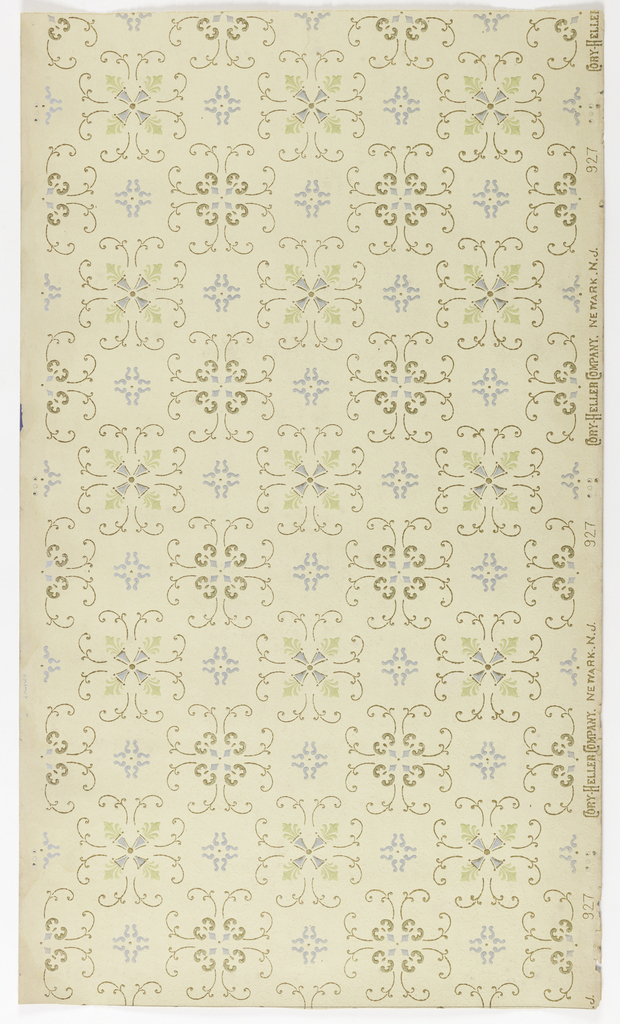 Rows of two similar motifs alternating: one consists of thin foliate scrolls with thicker scrolls and four diamonds in the center while the other consists of thin foliate scrolls with fleur de lis and a cross at center. Small gray flourishes separate motifs. Printed on a light tan or off-white ground.
