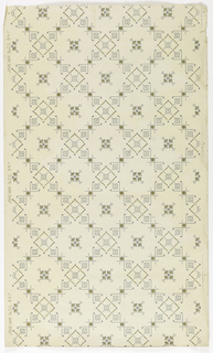 Grid or trellis pattern formed by square ornaments containing five stylized flowers. A four-lobed medallion is centered within each grid. Printed on a tan or off-white ground.