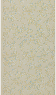 Pattern of vining and scrolling acanthus leaves, printed in blue and white with a metallic gold outline. Printed on a tan ground.