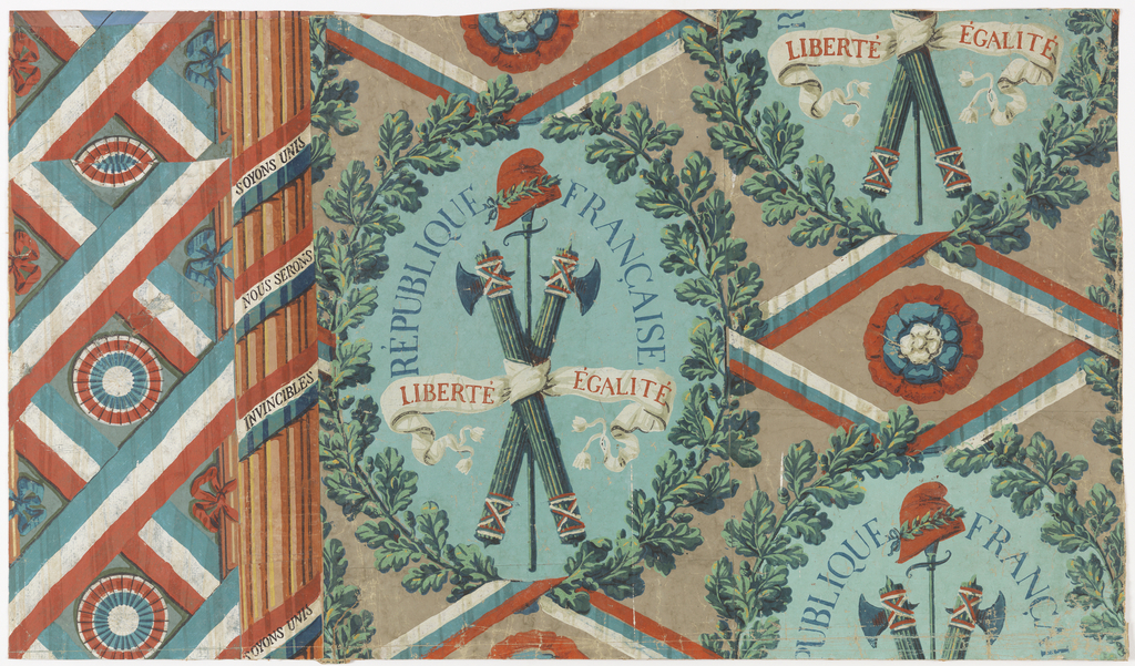 "Wallpaper designed for the French Revolution, illustrated with oakleaf wreath enclosing crossed fasces, sword & Phrygian cap. Tricolor ribbons wrapped around fluted column bear legend: ""Soyons Unis/Nous Serons/Invincibles."""